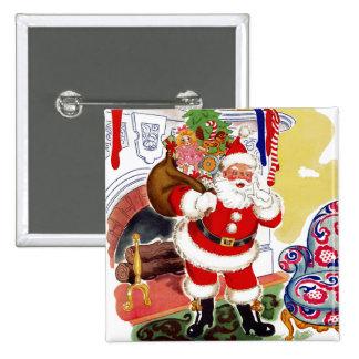 Santa at the Fireplace Bringing Toys Pinback Button