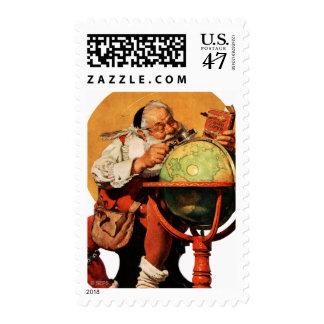 Santa at the Globe Stamp