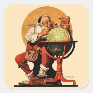 Santa at the Globe Square Sticker
