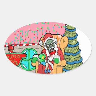 Santa at the Mall Oval Sticker