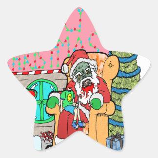 Santa at the Mall Star Sticker
