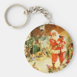 Santa At The North Pole Reindeer Stables Keychain