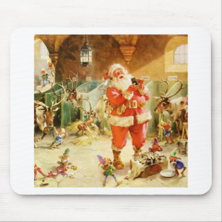 Santa at the North Pole Reindeer Stables Mousepads