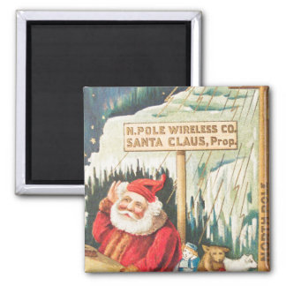 Santa at the North Pole Wireless Company 2 Inch Square Magnet