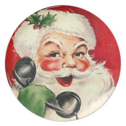Santa at the Phone Party Plates