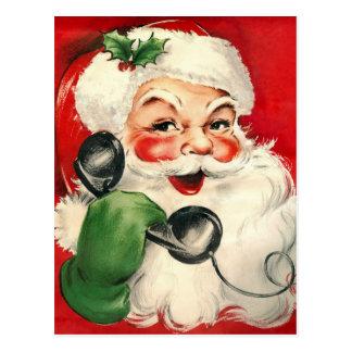 Santa at the Phone Post Card