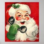Santa at the Phone Poster