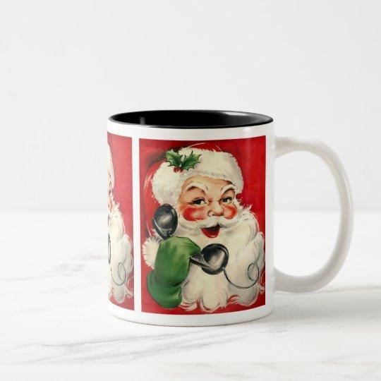 Santa at the Phone Two-Tone Coffee Mug