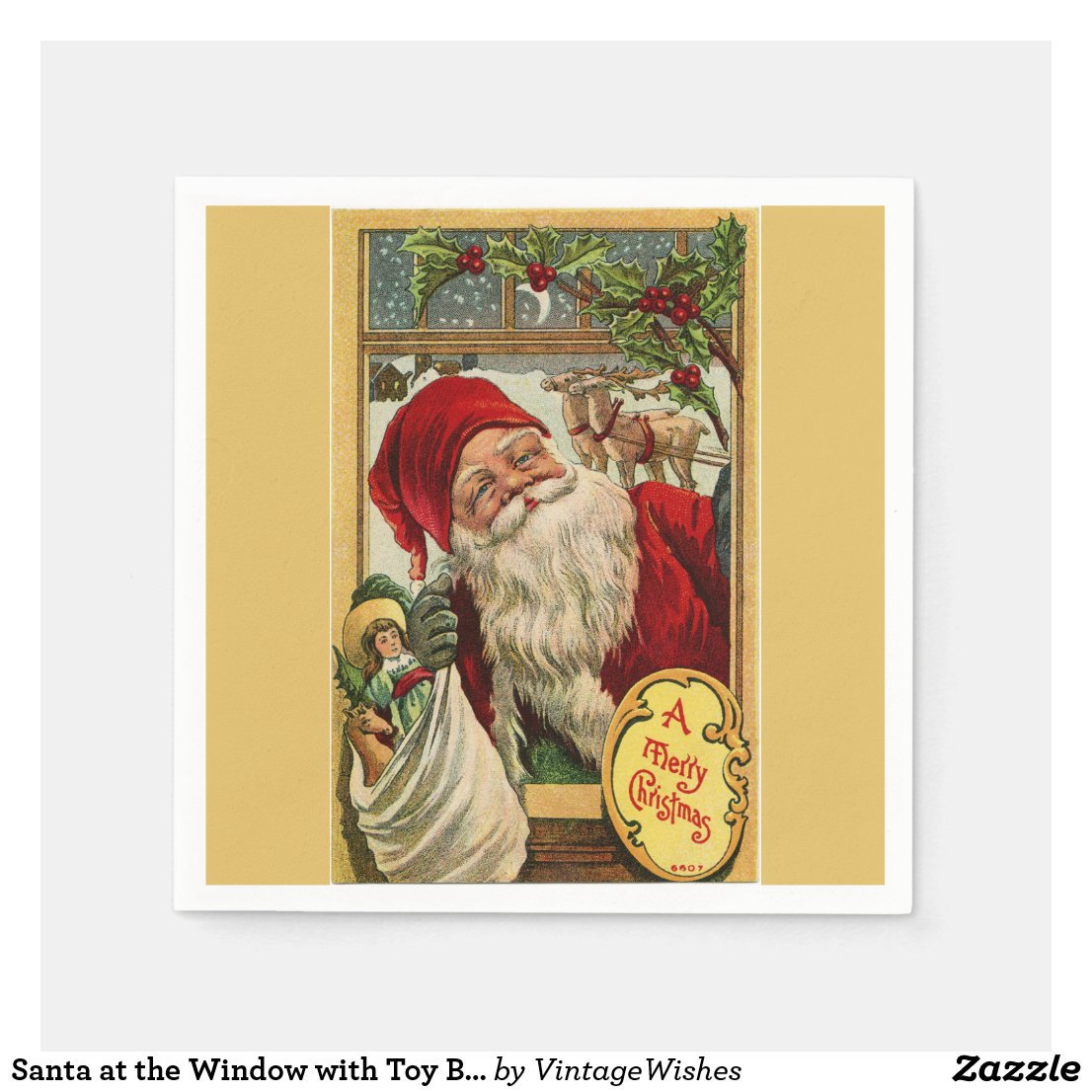 Santa at the Window with Toy Bag Paper Napkin