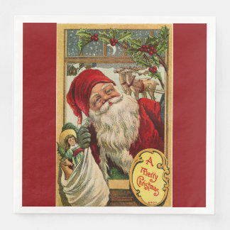 Santa at the Window with Toys Dinner Paper Dinner Napkin