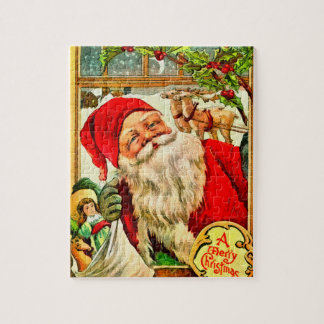 Santa At Window with Bag of Toys Jigsaw Puzzle