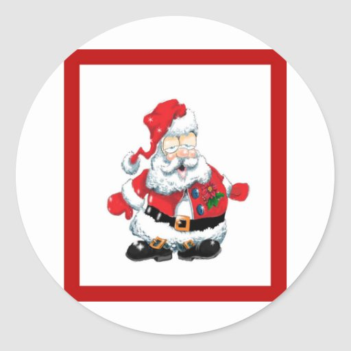 Santa ate to many cookies round sticker