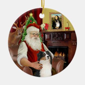 Santa-Aussie Shepherd (Tri 2) Ceramic Ornament