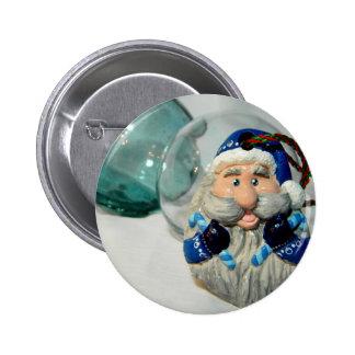 Santa azul II Pin Redondo De 2 Pulgadas