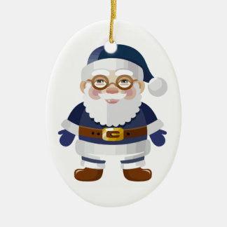 Santa azul lindo adorno ovalado de cerámica