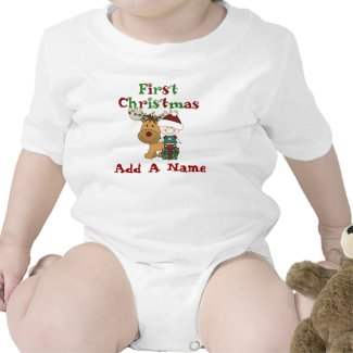Santa Baby and Reindeer First Christmas Bodysuit