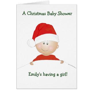 """Santa Baby"" Christmas Baby Shower Invitation Stationery Note Card"