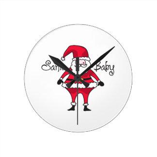 Santa Baby Round Wallclocks