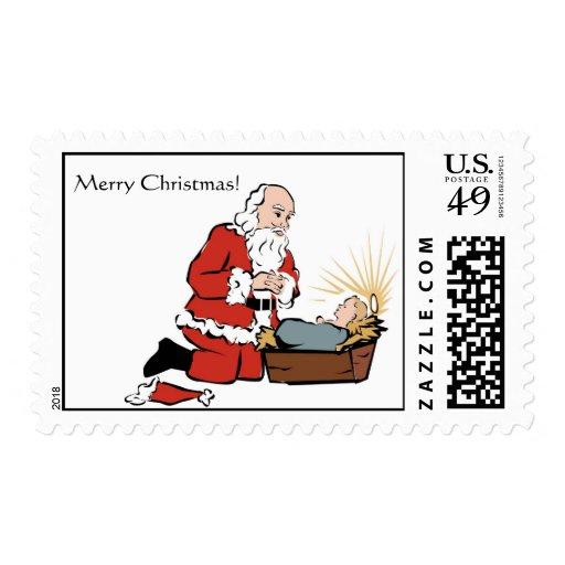 Santa & Baby Jesus Christmas Postage Stamp | Zazzle