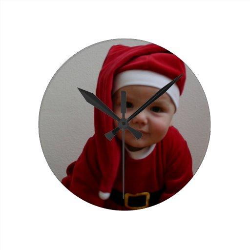 Santa baby Santa Claus Round Wallclocks