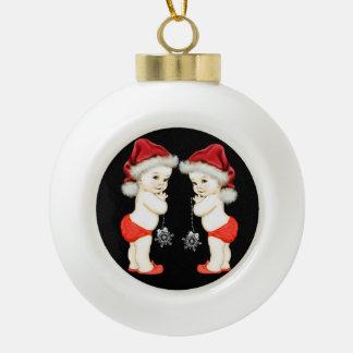 Santa Baby Twin Baby Boy Christmas Ornament