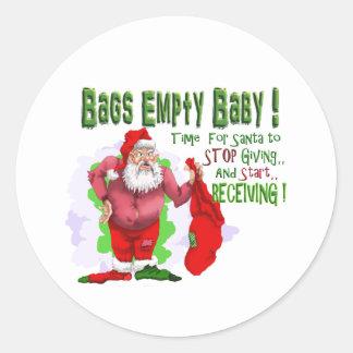 santa bags empty classic round sticker