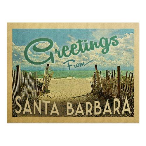 Santa Barbara Beach Vintage Travel Postcard