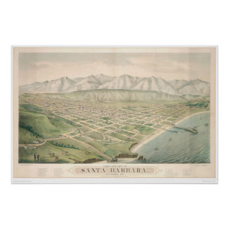 Santa Barbara, CA. Panoramic Map 1877 (1581A) Poster