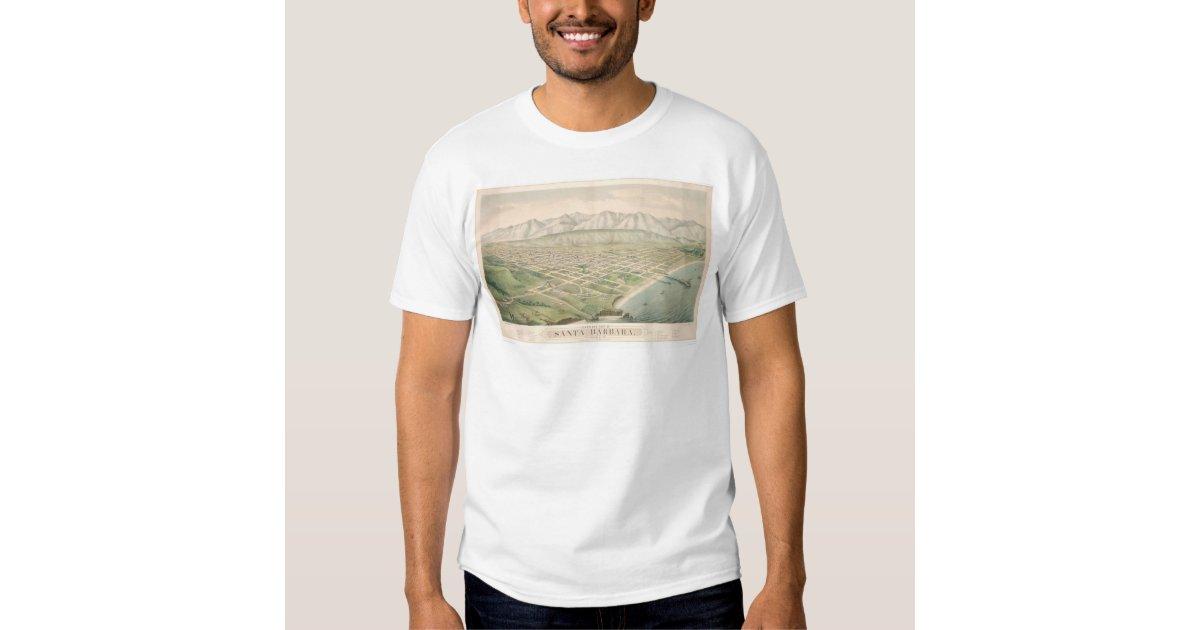 Santa barbara ca panoramic map 1877 1581a t shirt zazzle for T shirt printing santa barbara