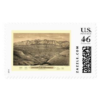 Santa Barbara, CA Panoramic Map - 1877 Postage