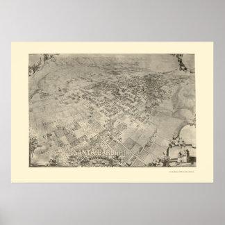 Santa Barbara, CA Panoramic Map - 1896 Print
