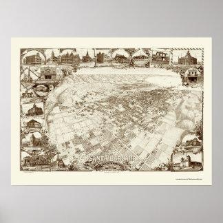 Santa Barbara, CA Panoramic Map - 1898 Print
