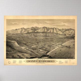 Santa Barbara California 1877 Panoramic Map Poster