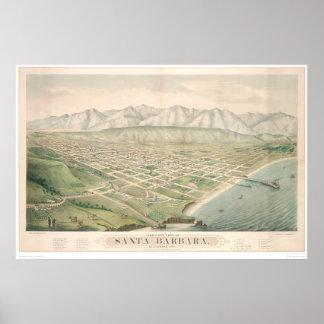 Santa Barbara, mapa panorámico 1877 (1581A) del CA Póster