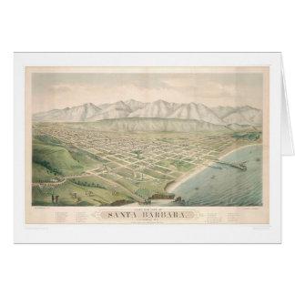 Santa Barbara, mapa panorámico 1877 (1581A) del CA Tarjeta De Felicitación