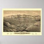 Santa Barbara, mapa panorámico de CA - 1877 Póster