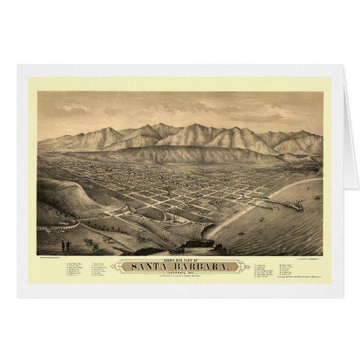 Santa Barbara, mapa panorámico de CA - 1877 Tarjeta De Felicitación