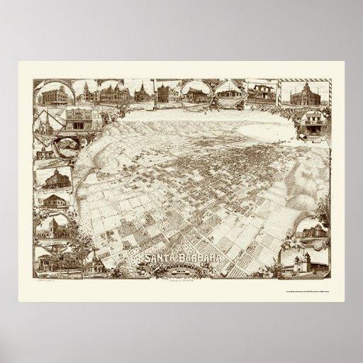 Santa Barbara, mapa panorámico de CA - 1898 Posters