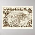 Santa Barbara, mapa panorámico de CA - 1898 Póster