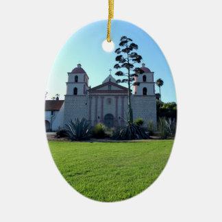 Santa Barbara Mission Double-Sided Oval Ceramic Christmas Ornament