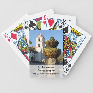 Santa Barbara Mission Fountain Bicycle Playing Cards