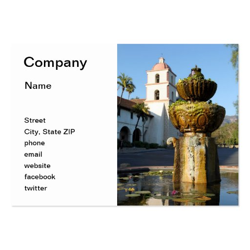 Santa Barbara Mission Fountain Business Card Template