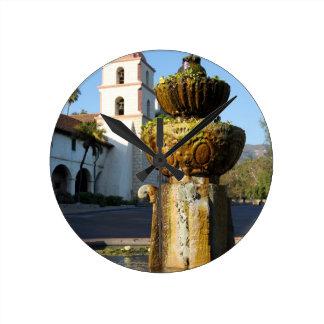 Santa Barbara Mission Fountain Round Wallclocks