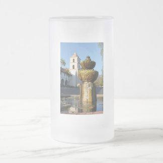 Santa Barbara Mission Fountain Frosted Glass Beer Mug