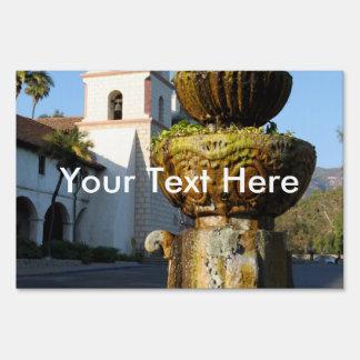 Santa Barbara Mission Fountain Lawn Sign
