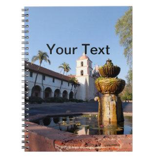 Santa Barbara Mission Fountain Notebook