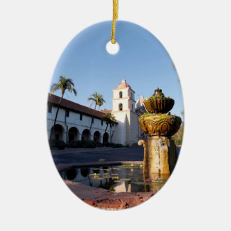 Santa Barbara Mission Fountain Christmas Ornaments