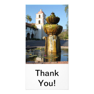 Santa Barbara Mission Fountain Custom Photo Card