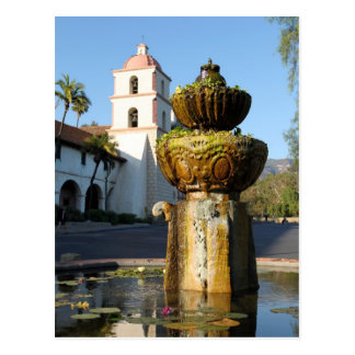 Santa Barbara Mission Fountain Postcard