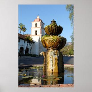 Santa Barbara Mission Fountain Print